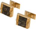 Explorers:Space Exploration, Jewelry: Neil Armstrong's 18K Gold Pyrite in Quartz Cufflinks Directly From The Armstrong Family Collection™, CAG Certifie...