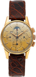 Timepieces:Wristwatch, Universal Geneve, Tri-Compax Chronograph With Calendar & MoonPhase, Gold Plate And Steel, Circa 1950's. ...