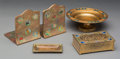 Metalwork, Five Tiffany Studios Enameled and Gilt Bronze Desk Items. Circa 1900. Stamped LOUIS C. TIFFANY FURNACES, INC., FAVRILE, ... (Total: 5 Items)