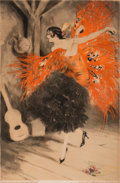 Art Glass, Louis Justin Laurent Icart (French/American, 1888-1950). SpanishDancer, 1929. Etching in colors on paper. 20-1/4 x 13-1...