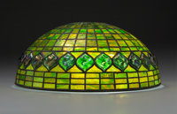 Tiffany Studios Leaded Glass Lamp Shade with Turtleback Glass Tiles Circa 1910. Stamped TIFFANY STUDIOS