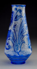 Glass:Steuben, Steuben Acid-Etched Flemish Blue over Colorless Glass Vase. Circa 1920. Ht. 11-1/8 in. . ...