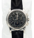 Timepieces:Wristwatch, Patek Philippe, Very Fine Ref. 5970P-001, Single Sealed Unused Platinum Chronograph With Perpetual Calendar, Moon Phases, Tach...