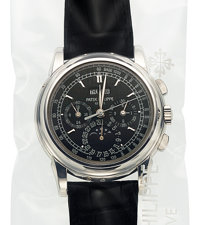 Patek Philippe, Very Fine Ref. 5970P-001, Single Sealed Unused Platinum Chronograph With Perpetual Calendar, Moon Phases...