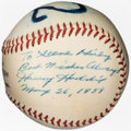 "Autographs:Baseballs, 1959 Harvey Haddix ""12"" Single Signed Baseball - Dated to His Historic Near-Perfect Game!..."