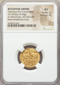 Ancients:Byzantine, Ancients: Heraclius (AD 610-641), with Heraclius Constantine andHeraclonas. AV solidus (20mm, 4.44 gm, 7h). NGC AU 4/5 - 4/5....