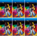 """Explorers:Space Exploration, Buzz Aldrin and Peter Max Signed Peter Max """"Apollo 11 - Walking on the Moon 1969/1999"""" Large Prints (Six) Originally from Aldr... (Total: 6 )"""