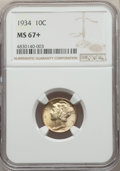 Mercury Dimes: , 1934 10C MS67+ NGC. NGC Census: (40/4 and 2/0+). PCGS Population: (16/0 and 0/0+). CDN: $165 Whsle. Bid for problem-free NG...