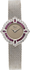 Timepieces:Wristwatch, Chopard, Lady's 18k White Gold, Diamond & Ruby Bracelet Watch, Circa 1980's. ...