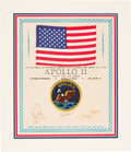 Explorers:Space Exploration, Apollo 11 Flown American Flag on a Crew-Signed Presentation Certificate, with Zarelli Letter of Authenticity, in Matted Displa...