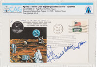 "Apollo 11 Flown Crew-Signed ""Type One"" Quarantine Cover, Hand-numbered NA-5 and Certified by Neil Armstrong, D..."