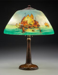 Lighting:Lamps, Handel Bronze and Reverse Painted Glass Sailboat Lamp. Circa 1920. Base stamped HANDEL effaced; glass signed...