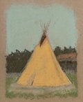 Works on Paper, Frank Reaugh (American, 1860-1945). Wigwam. Pastel on paper. 3-3/4 x 3 inches (9.5 x 7.6 cm). PROPERTY FROM THE ROBERT...
