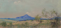 Frank Reaugh (American, 1860-1945) Blue Mountain Pastel on paper 4 x 8 inches (10.2 x 20.3 cm)