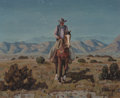 Fine Art - Painting, American, Fred Darge (American, 1900-1978). Evening Ride. Oil oncanvasboard. 8 x 10 inches (20.3 x 25.4 cm). Signed lower right:...