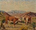 Fine Art - Painting, American, Fred Darge (American, 1900-1978). Cattle. Oil oncanvasboard. 8 x 10 inches (20.3 x 25.4 cm). Signed lower right:F. D...