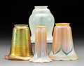 Glass, Four Various Quezal Glass Shades. Early 20th century. Stenciled Quezal. Ht. 5-1/2 in. (tallest). ... (Total: 4 Items)