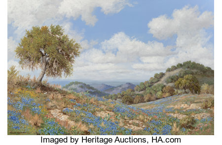 Robert Harrison (American, 20th Century) Bluebonnets, 1977 Oil on canvas 24 x 36 inches (61.0 x 91.4 cm) Signed and ...