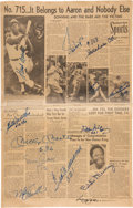 Baseball Collectibles:Others, 1974 Hank Aaron Record Newspaper Signed by 500 Home Run Club with Sadaharu Oh....