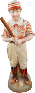 Baseball Collectibles:Others, 1890's Heubach Porcelain Baseball Figurine...