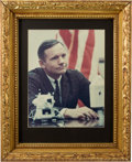 Explorers:Space Exploration, Neil Armstrong Large Color Photo Posed with LM and CM Models, in Framed Display, Directly From The Armstrong Family Collec...