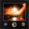 Explorers:Space Exploration, Apollo 17 Large Launch Color Photo Signed by Gene Cernan with Novaspace Certificate of Authenticity, in Framed Display. ...