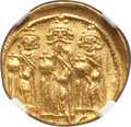 Ancients:Byzantine, Ancients: Heraclius (AD 610-641), with Heraclius Constantine andHeraclonas. AV solidus (21mm, 4.48 gm, 6h). NGC MS 5/5 - 4/5....