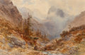 Fine Art - Work on Paper:Watercolor, Edward Theodore Compton (British, 1849-1921). Hollenthal,Bavaria, 1880. Watercolor over pencil, heightened with whitea...