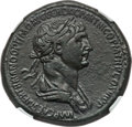 Ancients:Roman Imperial, Ancients: Trajan (AD 98-117). AE sestertius (34mm, 28.90 gm, 6h).NGC Choice VF 5/5 - 3/5, smoothing....