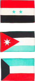 Explorers:Space Exploration, Gemini 10 Flown Flags (Three) of Middle Eastern Countries (Jordan, Kuwait, Syria) Directly from the John W. Young Collection, ... (Total: 3 Items)