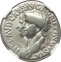 Ancients:Roman Imperial, Ancients: Claudius I (AD 41-54) with Agrippina II. AR cistophorus(26mm, 10.42 gm, 7h). NGC Choice Fine 4/5 - 4/5....