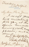 Autographs:U.S. Presidents, Chester Arthur Autograph Letter Signed as President....