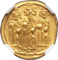Ancients:Byzantine, Ancients: Heraclius (AD 610-641), with Heraclius Constantine andHeraclonas. AV solidus (20mm, 4.41 gm, 6h). NGC MS 5/5 - 4/5....