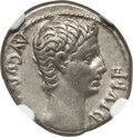Ancients:Roman Imperial, Ancients: Augustus (27 BC-AD 14). AR denarius (18mm, 3.67 gm, 6h).NGC XF 4/5 - 4/5, light marks....