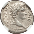 Ancients:Roman Imperial, Ancients: Augustus (27 BC-AD 14). AR denarius (19mm, 3.67 gm, 6h).NGC XF 4/5 - 3/5....