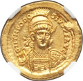 Ancients:Roman Imperial, Ancients: Theodosius II, Eastern Roman Empire (AD 402-450). AVsolidus (20mm, 4.45 gm, 6h). NGC MS 4/5 - 4/5, adjusted flan....