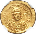 Ancients:Byzantine, Ancients: Justinian I the Great (AD 527-565). AV solidus (21mm,4.43 gm, 6h). NGC MS 4/5 - 5/5....