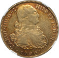 Colombia, Colombia: Charles IV gold 8 Escudos 1796 P-JF AU55 NGC,...