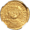 Ancients:Byzantine, Ancients: Maurice Tiberius (AD 582-602). AV solidus (22mm, 4.40 gm,5h). NGC MS 5/5 - 4/5....