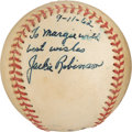 Baseball Collectibles:Balls, 1962 Jackie Robinson Single Signed Baseball. ...