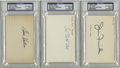 Football Collectibles:Others, Hall of Fame Signed Index Cards Finks, Clark, Hutson, PSA Authentic, Lot of 3. Three stunning examples of signatures of mem...
