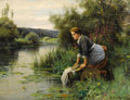 Fine Art - Painting, American:Modern  (1900 1949)  , DANIEL RIDGWAY KNIGHT (American 1839-1924). Laundress by theWater's Edge, 1922 . Oil on canvas. 35-1/2 x 46-1/4 inches...
