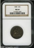 Seated Quarters: , 1845 25C MS64 NGC....