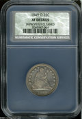Seated Quarters: , 1849-O 25C XF Details, Improperly Cleaned, NCS....
