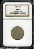 Seated Quarters: , 1863 25C MS62 NGC....
