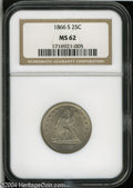 Seated Quarters: , 1866-S 25C MS62 NGC....
