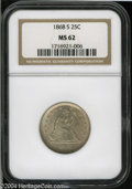 Seated Quarters: , 1868-S 25C MS62 NGC....