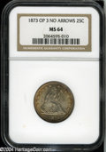 Seated Quarters: , 1873 25C Open 3 No Arrows MS64 NGC....