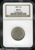Seated Quarters: , 1882 25C MS63 NGC....