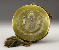 Russian Imperial Presentation Brass Seal of the Great State Arms 19th century  Circular, the slip-on cover applied wi
